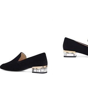 Nine West Velvet Umissit Clear Heel Loafer